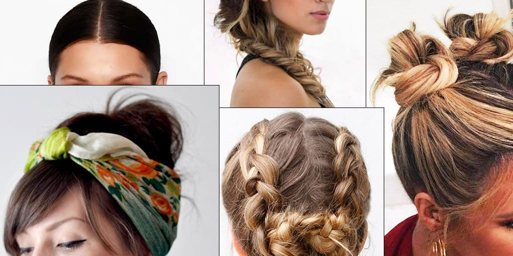 Collage of five hot weather hair styles to beat the heat