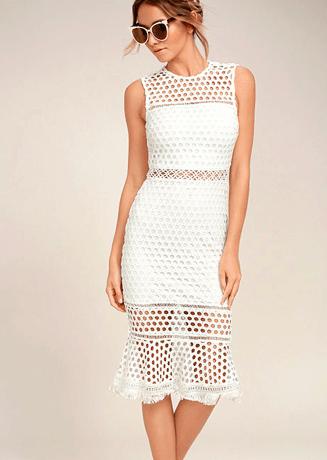 White crochet dress from Lulus