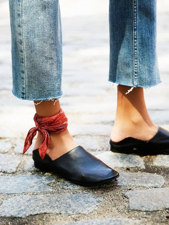 black, leather mules