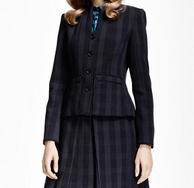 Dark blue striped women's suit