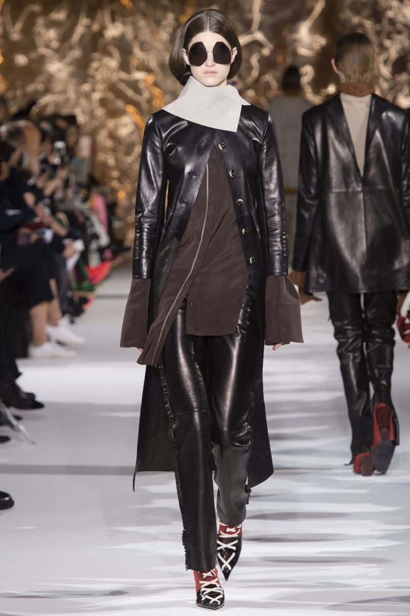 Acne Studios runway model wearing leather