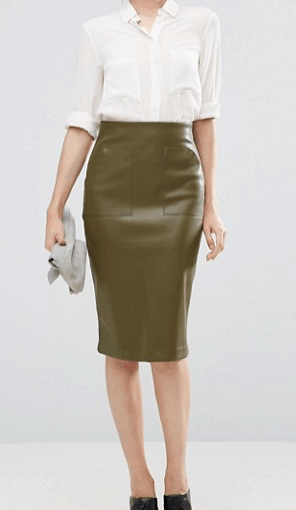 Olive green PU pencil skirt with pocket