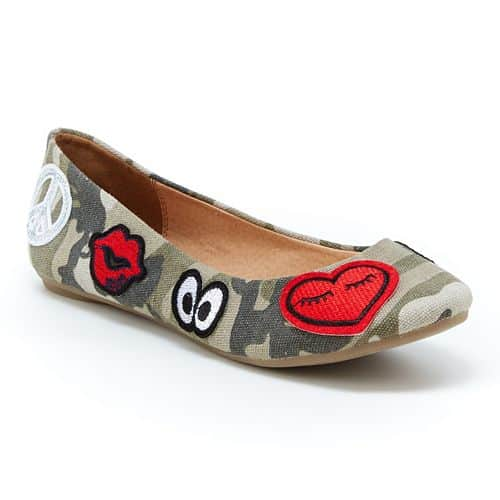 Camo ballet flats with patches