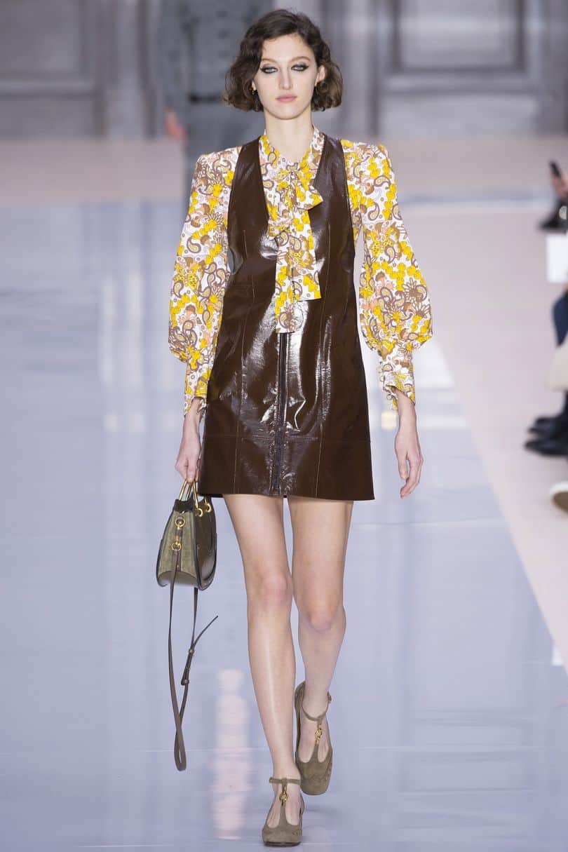 Chocolate brown leather dress from Chloe