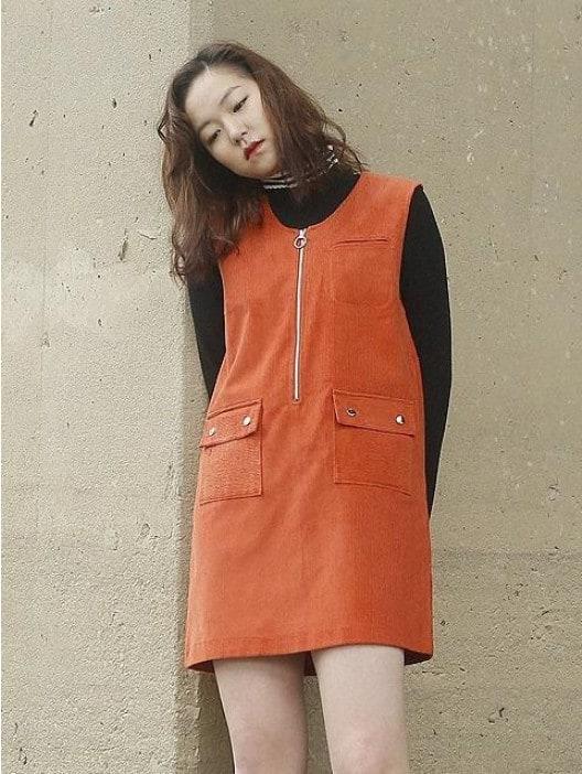 Orange corduroy dress