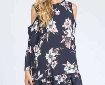 Navy cold-shoulder dress with white and pink floral pattern
