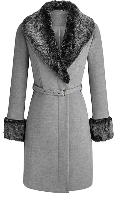 Grey, belted coat with dark grey fur trim on color and cuffs