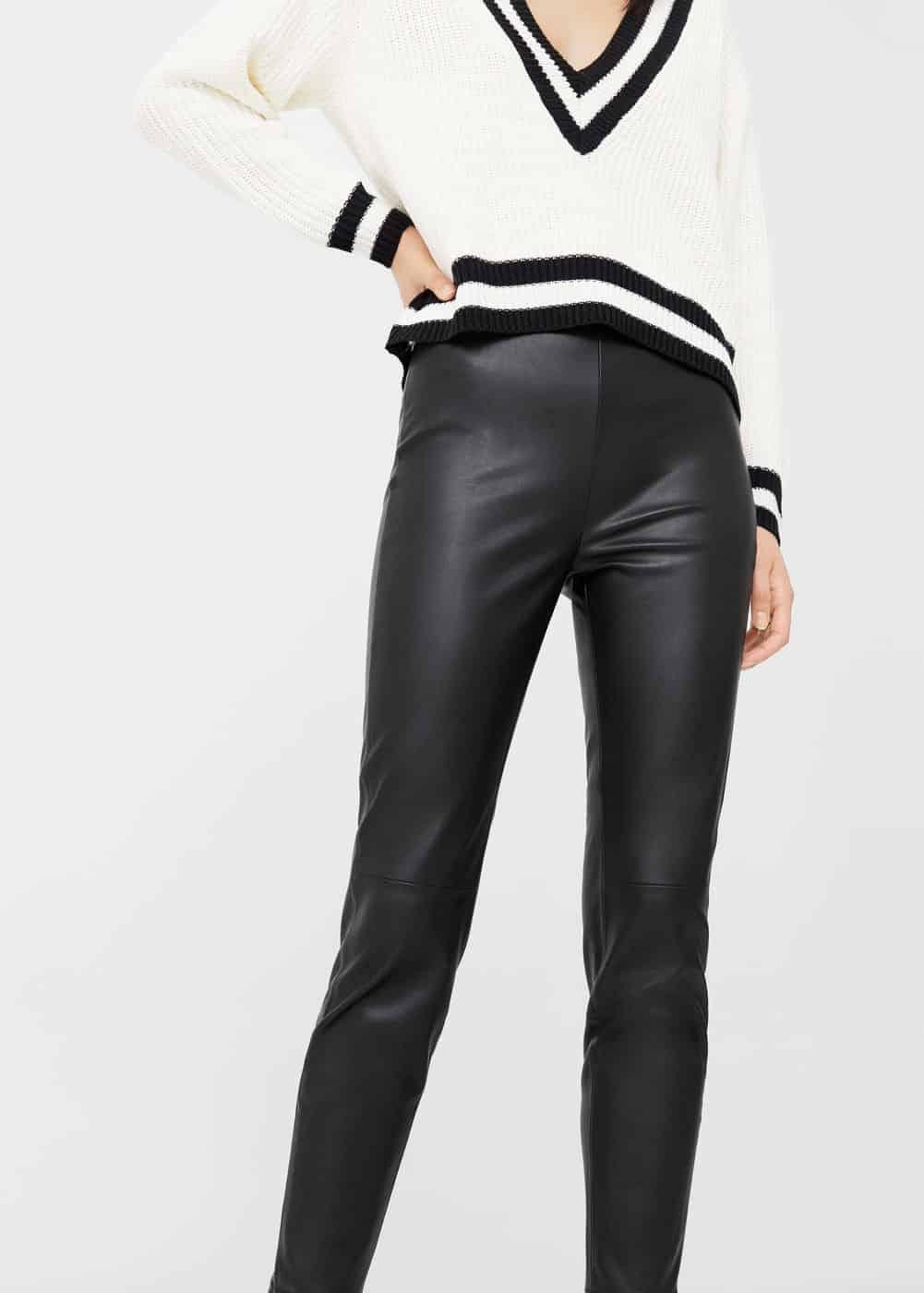 Black, faux-leather pants