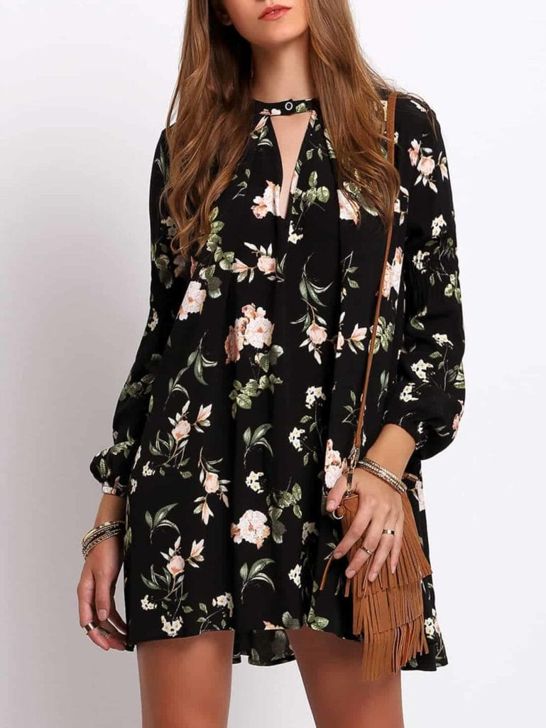 Floral dress with choker detail and 3/4 length sleeves