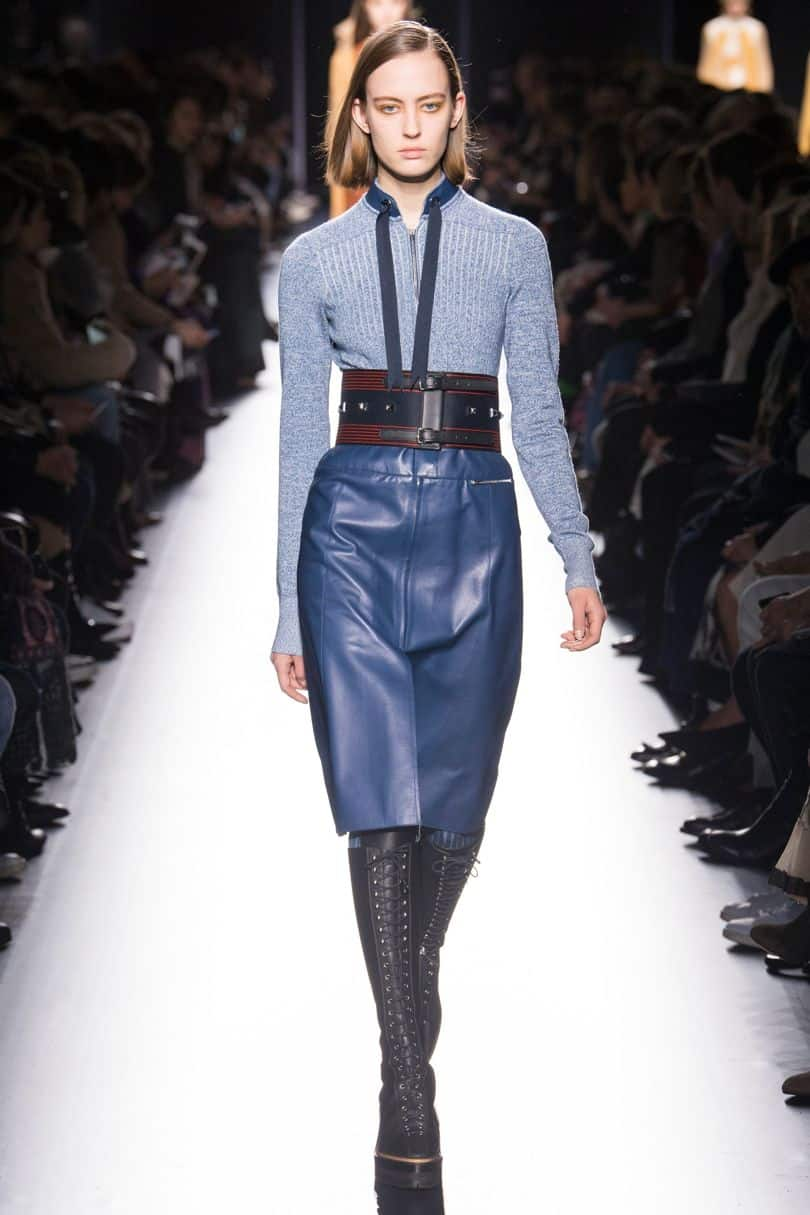 Blue leather pencil skirt from Hermes