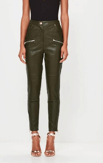Olive green, tapered leather trousers