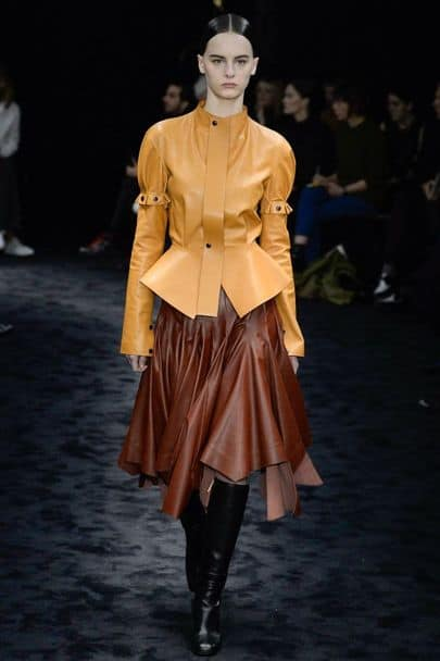 Busy, two-toned leather outfit from Loewe