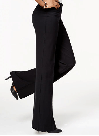 Black, wide-legged rayon pants
