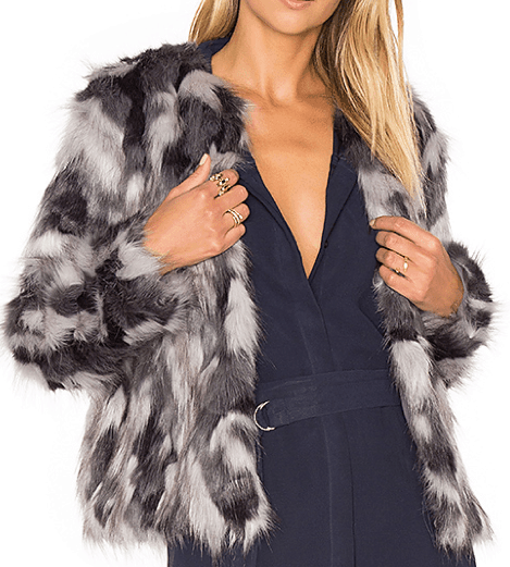 Grey, white and black faux fur coat