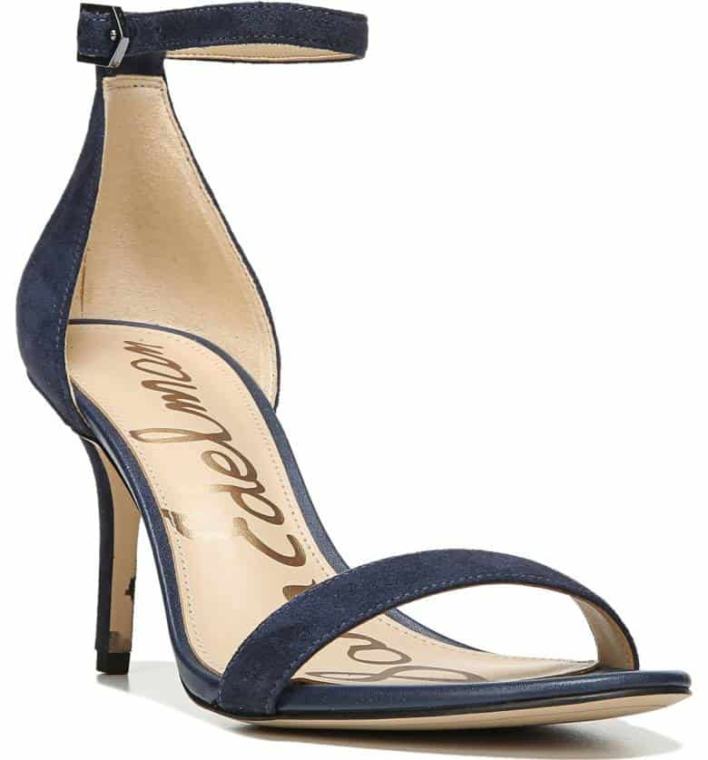 Navy Ankle Strap Heeled Shoes