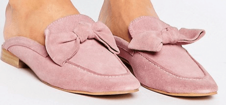Pink suede mules with bow