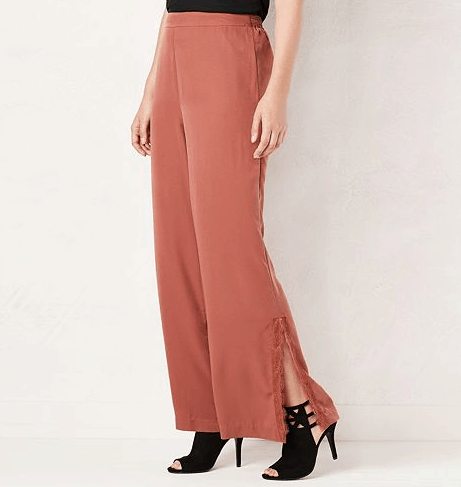 copper, wide-legged pant with lace trim