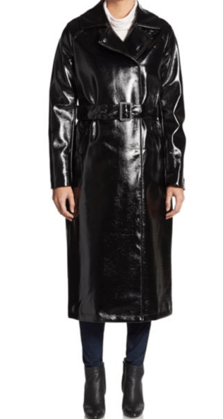 Belted, knee-length leather trench coat