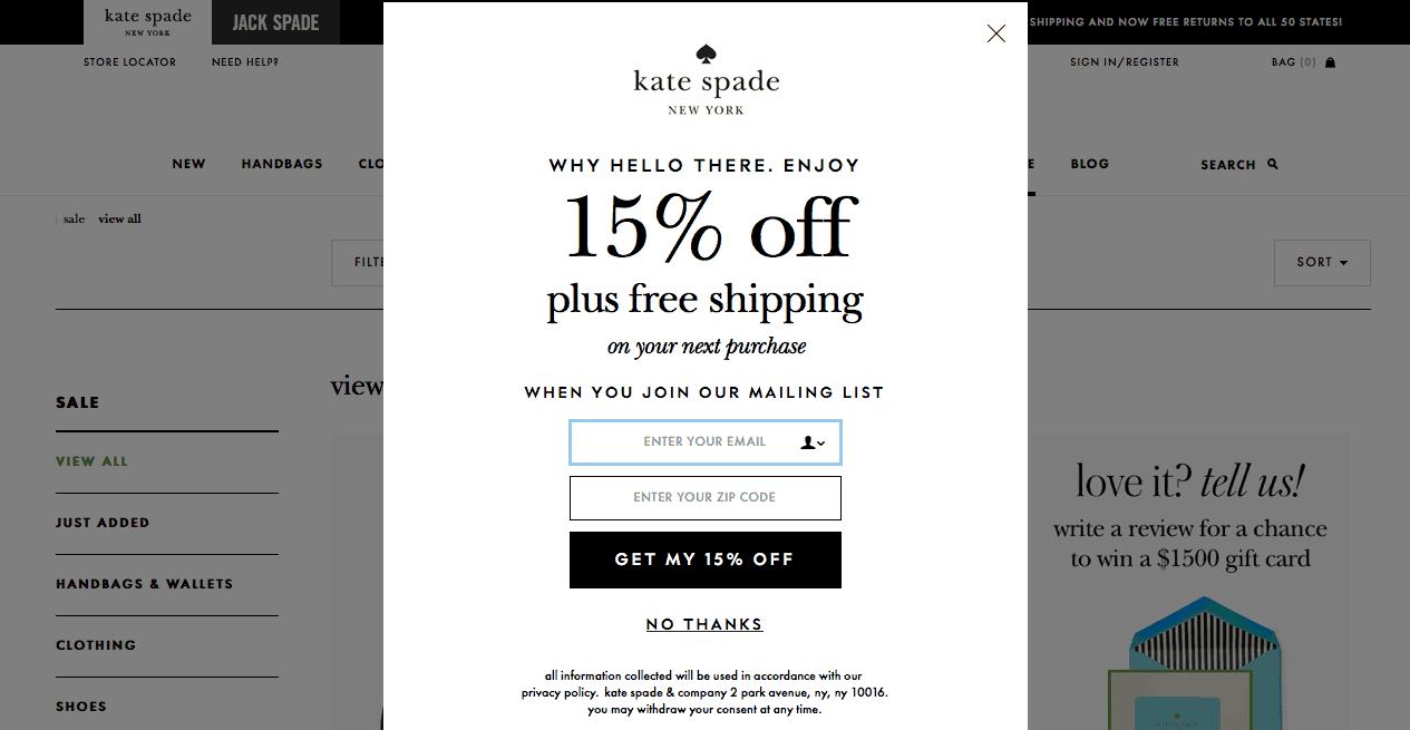 Kate spade discount coupon