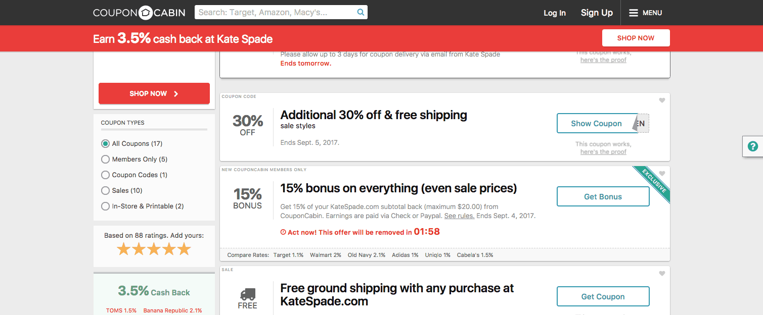 screenshot of kate spade coupon codes from couponcabin