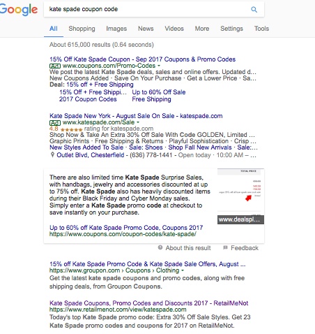 """Google search results for """"kate spade coupon code"""""""