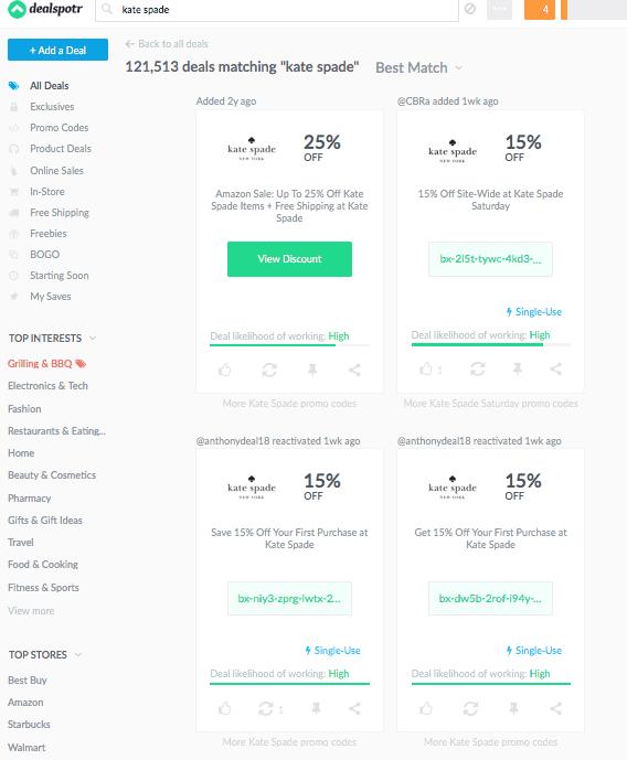 screenshot of kate spade coupon codes on dealspotr