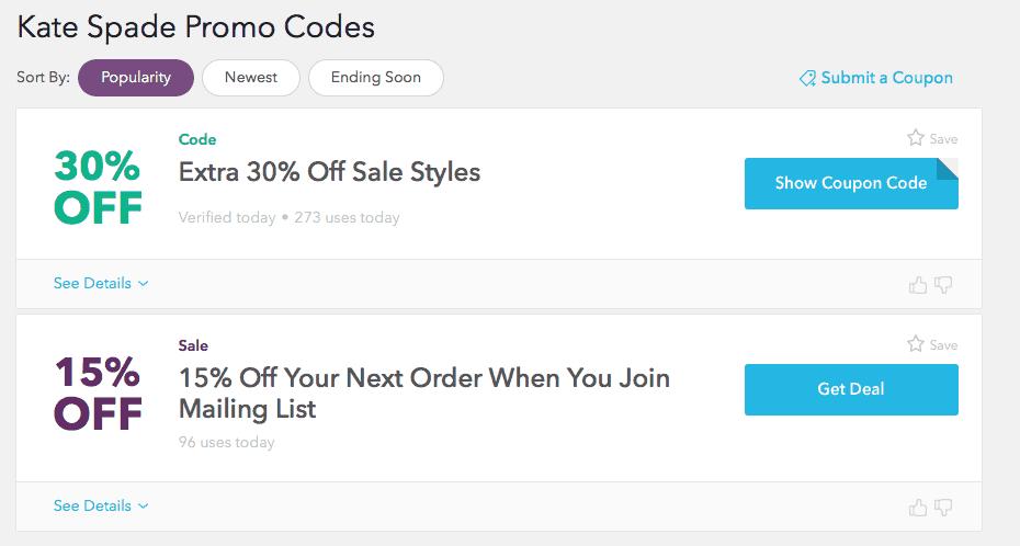 Screenshot of kate spade coupon codes on retailmenot