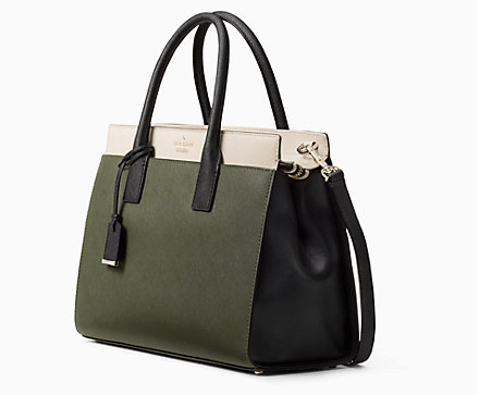 Olive green, creme and black Kate Spade satchel