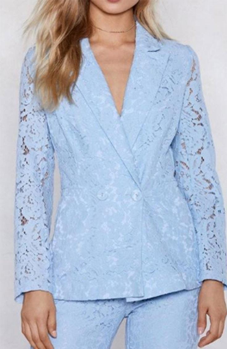 Baby blue lace blazer