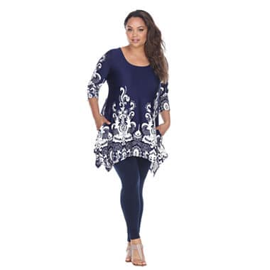 Navy blue assymetrical tunic paired with leggings