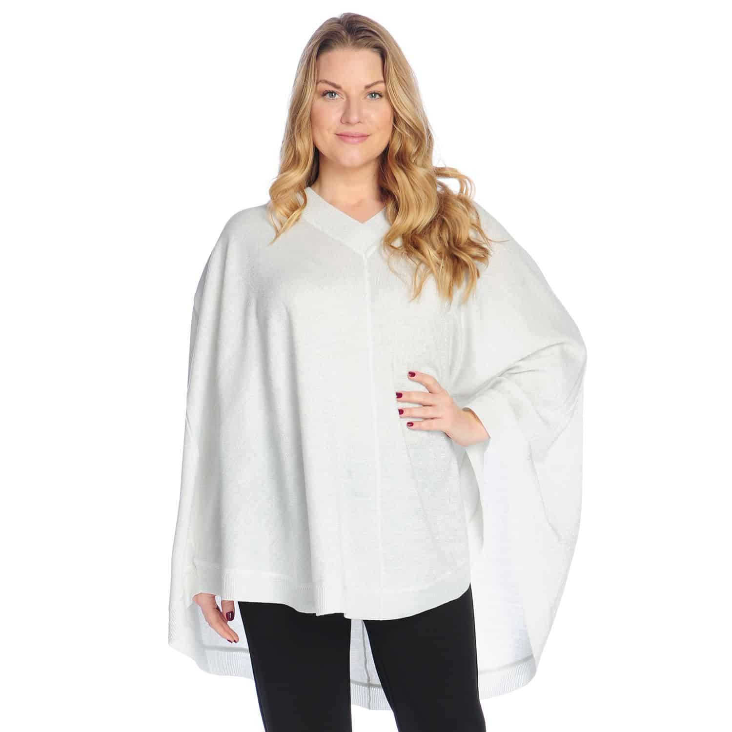 White poncho paired with leggings