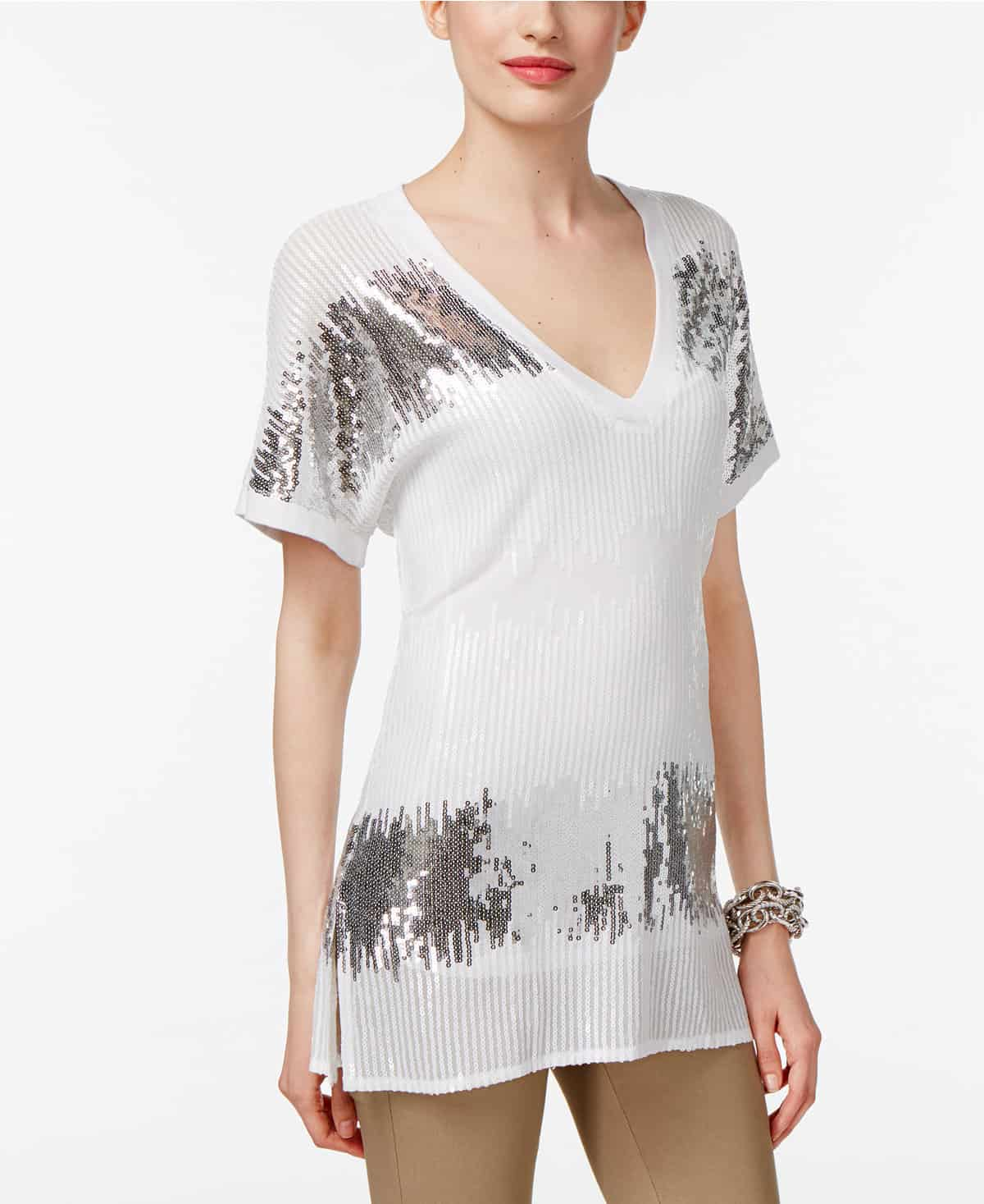 White and silver sequin top