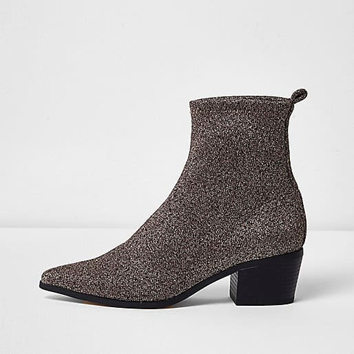 Shiny Silver Boot with Block Heel