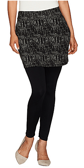 Black leggings with checked skirt
