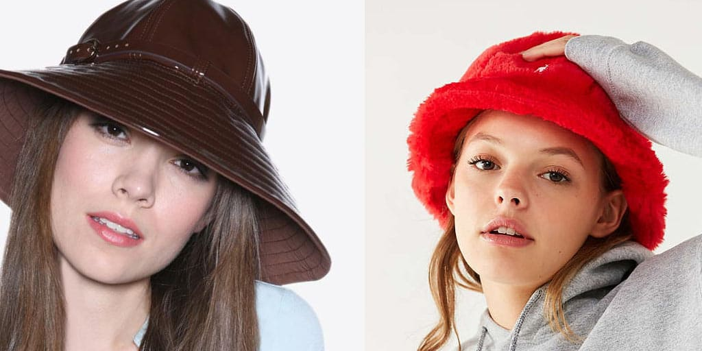 Collage of trendy hats — patent leather rain hat and fur bucket cap