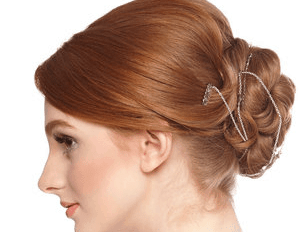 Updo, pin curls, back view