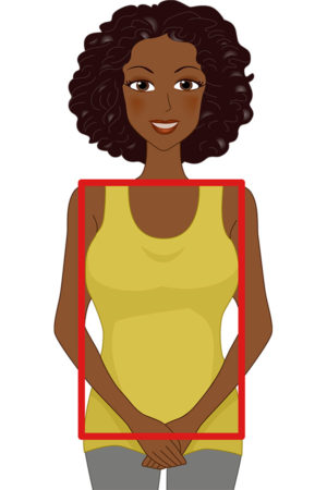 Black woman with rectangle-shaped body (illustration)