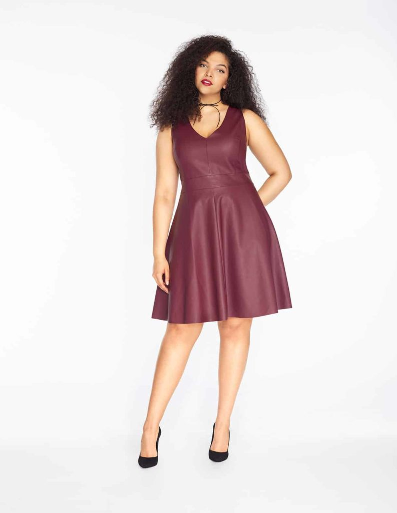 Faux leather fit and flare dress