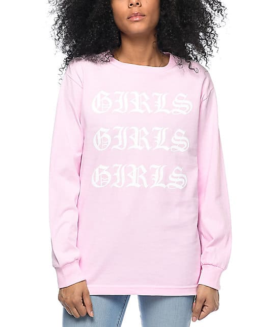 Long sleeve pink graphic tee