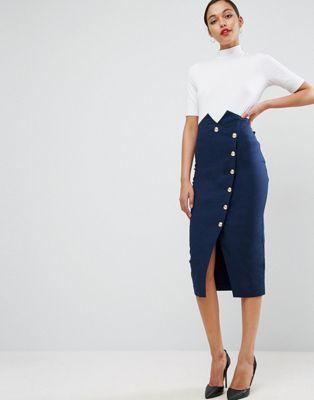 Meghan Markle inspired navy blue skirt with side slit