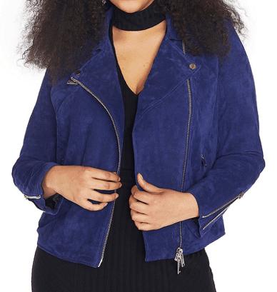 Blue suede jacket by Rebel Wilson
