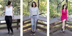 Three outfits with statement sneakers