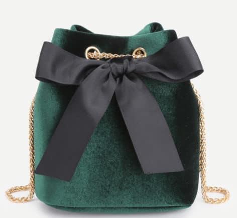 Green velvet bag