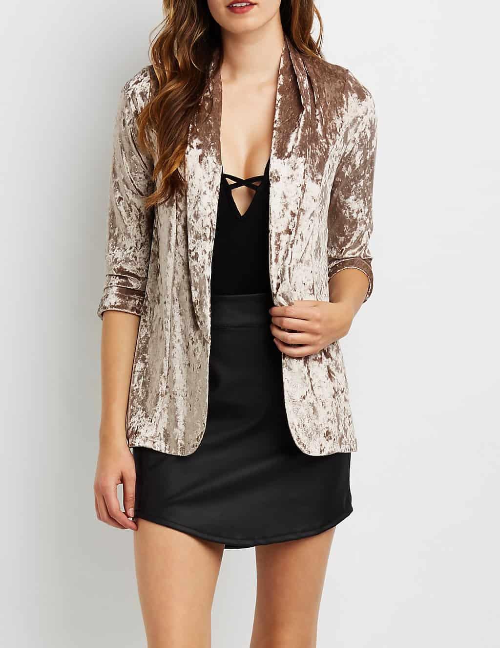 trendy taupe velvet blazer