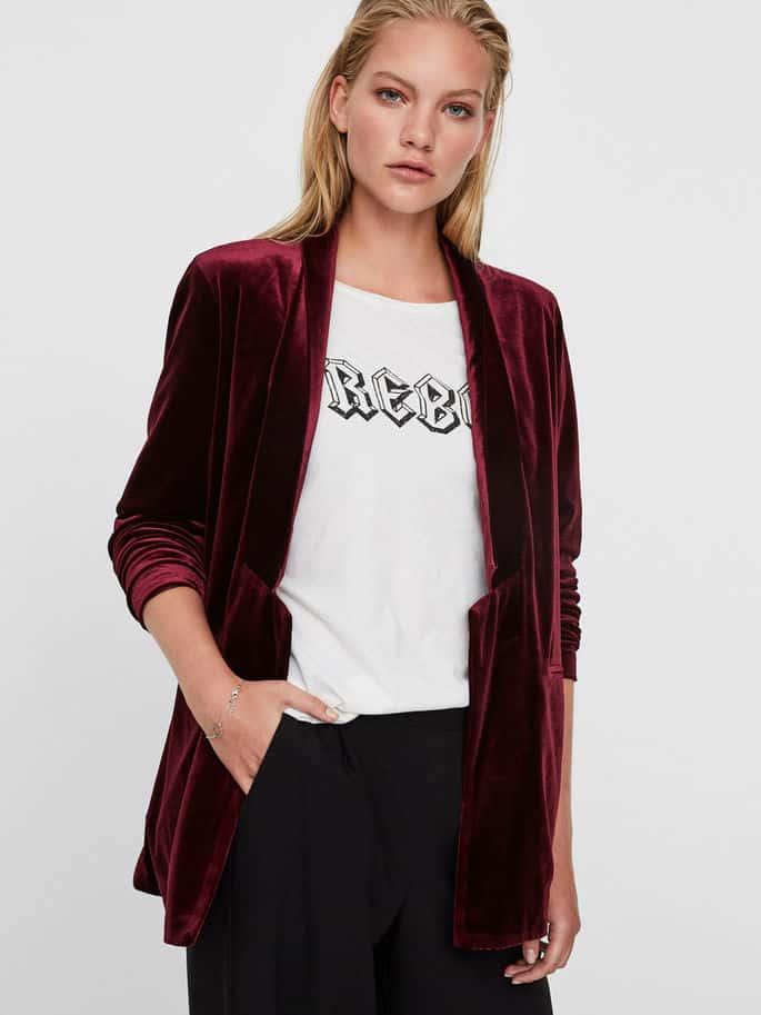 Wine colored velvet blazer