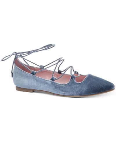 Pale blue velvet flat soled shoe