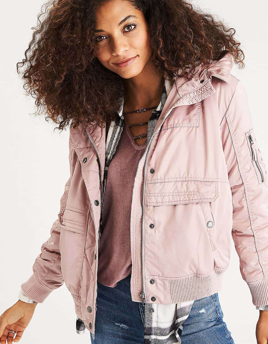 Pink bomber jacket with hood and fleece lining