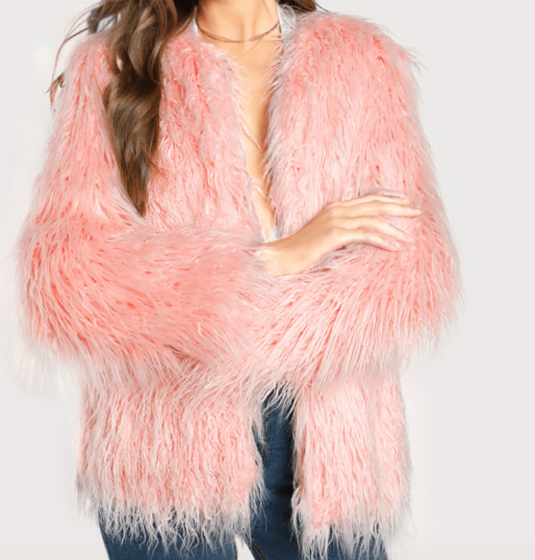 Heavily textured faux fur pink coat, hip-length