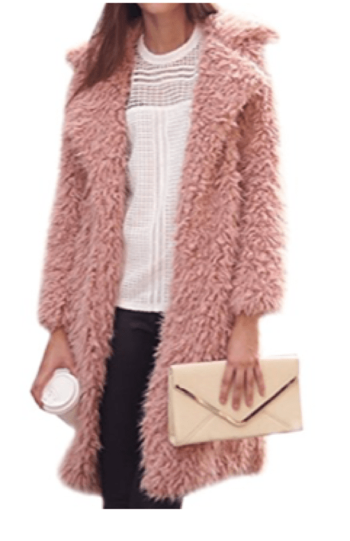 Mid Length Fuzzy Pink Faux Fur Coat