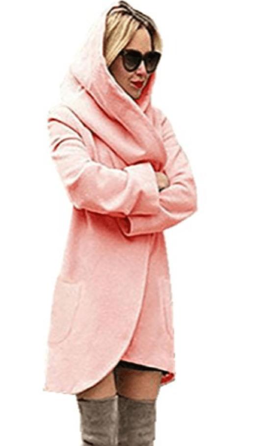 Fleece Wrap Style Coat in Pink